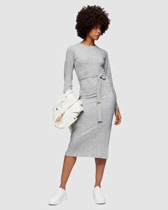 Topshop Cut and Sew Belted Midi