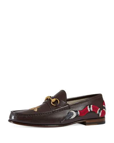 Gucci Roos Leather Moccasin Loafer with Snake, Brown