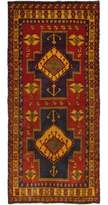 "Ecarpetgallery One-of-a-Kind Ardabil Hand-Knotted Runner 4'6"" x 10' Wool Dark Red/Black/Brown Area Rug"