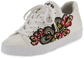 Ash Nak Bis Embroidered Leather Sneaker, White/Red