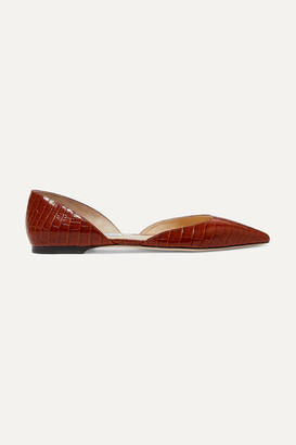 Jimmy Choo Esther Croc-effect Leather Ballet Flats - Brown