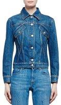 Alexander McQueen Embroidered-Back Denim Jacket, Vintage Indigo