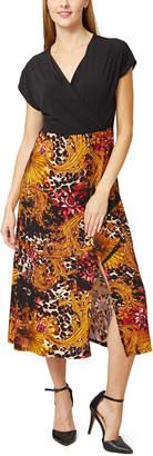 Bella Flore Women's Casual Dresses BLACK - Black & Gold Floral Empire-Waist Midi Dress - Women & Plus