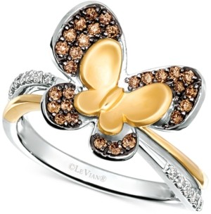LeVian Le Vian Diamond Butterfly Statement Ring (1/3 ct. t.w.) in 14k Gold & 14k White Gold