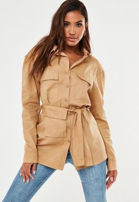 Missguided Camel Twill Long Belted Safari Shirt