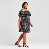 Merona Women's Plus Size Cold Shoulder Dress Black Dot