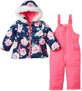 Carter's Toddler Girl Floral Puffer Jacket & Solid Bib Snow Pants Snowsuit Set