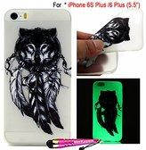 """Fit [iPhone 6 Plus / iPhone 6S Plus],MerKuyom [Night Luminous] Thin Flexible Gel Soft TPU Cover Skin Case W/ Protector & Stylus For Apple iPhone 6S Plus / iPhone 6 Plus [5.5""""] (Wolf Head Feather)"""