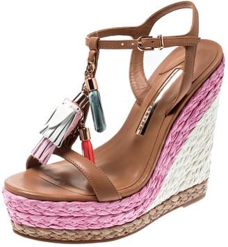 Sophia Webster Brown Leather Lucita Tassel T-Strap Espadrille Wedge Sandals Size 36.5