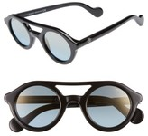 Moncler Women's 47Mm Rounded Sunglasses - Dark Havana / Green