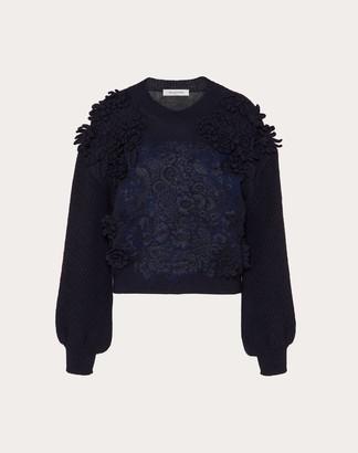Valentino Embroidered Wool Sweater Women Navy Virgin Wool 100% S