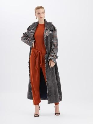 Oscar de la Renta Herringbone and Lamb Coat