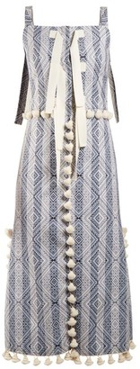 Altuzarra Villette Tassel-trimmed Diamond-jacquard Dress - Womens - Blue Print