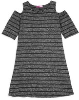 Aqua Girls' Striped Cold Shoulder Knit Dress - Sizes S-XL