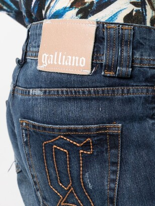 John Galliano Pre-Owned 2000s Logo-Embroidered Boyfriend Jeans