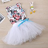 Hot Baby Dress! AMA(TM) Toddler Baby Girls Floral Sleeveless Princess Wedding Party Tutu Dresses Clothes (12/18M, White)