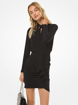 Michael Kors Matte Jersey Tie-Neck Ruched Dress