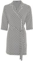 Petite geometric tile double cuff dress