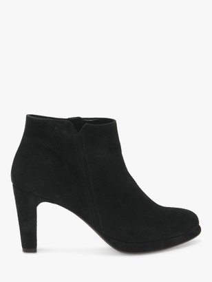 Gabor Yang Suede High Heeled Zip Up Ankle Boots, Schwarz