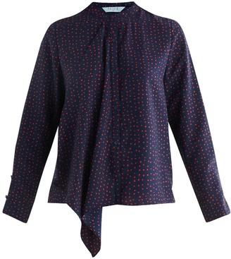 Paisie Ivie Polka Dot Draped Front Blouse