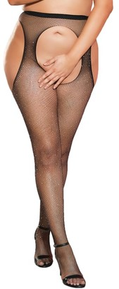 Shirley of Hollywood Plus Size Sparkle Garter Belt Thigh Highs