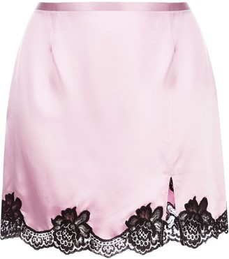 Fleur Du Mal Lace-Trimmed Silk Skirt