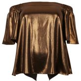 River Island Womens Plus bronze metallic bardot top