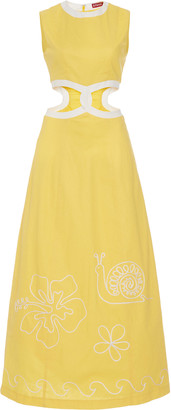 STAUD Colada Linen Blend Cutout Dress