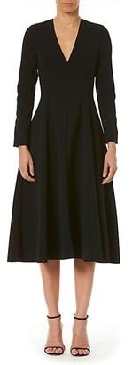 Carolina Herrera Long-Sleeve V-Neck A-Line Dress