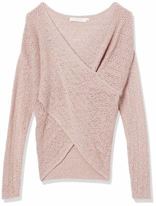 ASTR the Label Women's Long Sleeve Surplice V Neck MAE Faux WRAP Sweater