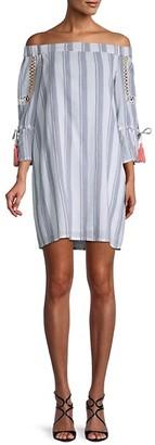 Miss Me Striped Cotton Mini Shift Dress