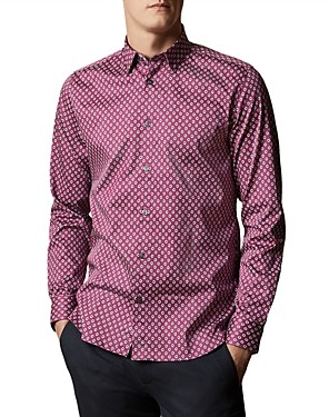 Ted Baker Micro-Floral Slim Fit Button-Down Shirt
