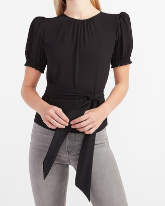 Express Puff Sleeve Tie Waist Peplum Top