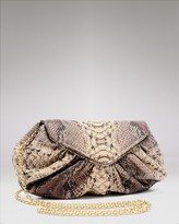 Diana Python-Embossed Leather Clutch