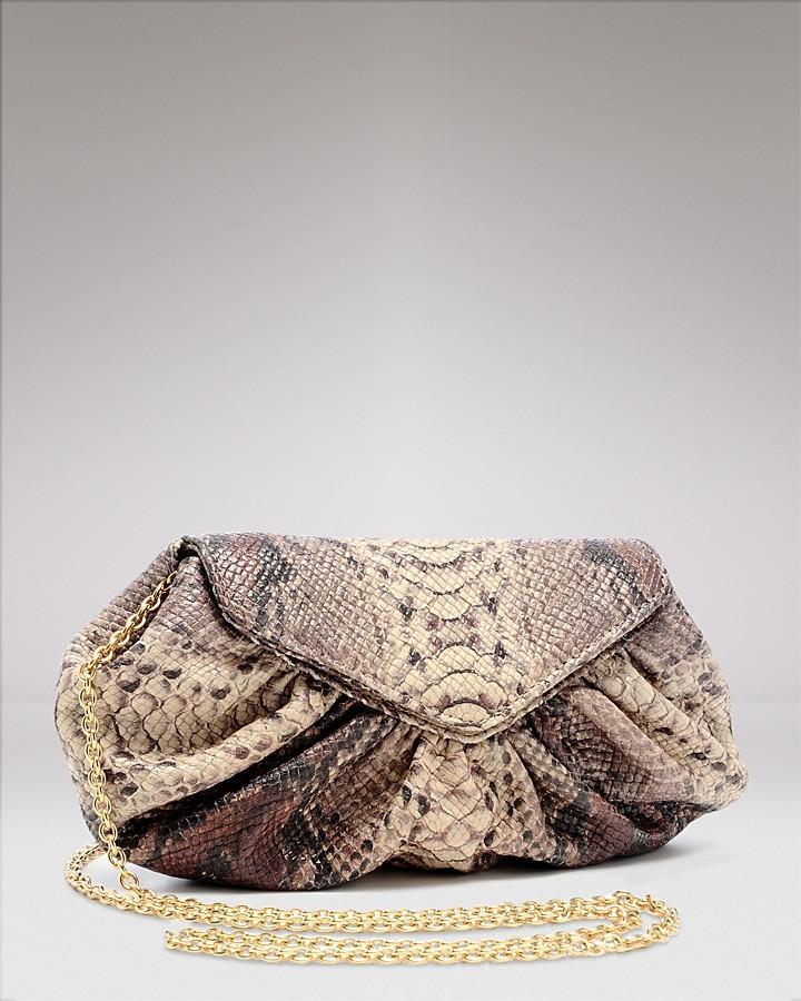 Lauren Merkin Diana Python-Embossed Leather Clutch