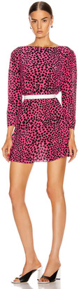 Rixo Kyla Dress in Pink Leopard   FWRD