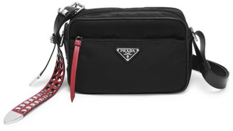 Prada Vela Nylon Studded Shoulder Bag