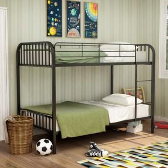 Furniture of America Trenton Twin Over Twin Metal Bunk Bed, Black