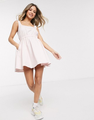 ASOS DESIGN soft denim square neck skater dress in pink