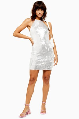 Topshop Womens White Sequin Halter Neck Mini Dress - White