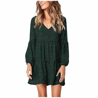 YBWZH Spring Autumn Women Dress Women Casual Dot V-Neckline Mini Dress Short Sleeve Lace Loose Swing Dress Work Dress Lady Elegant Knee Length Vacation Dress Green