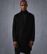 REISS Camelot - Wool Longline Overcoat in Black