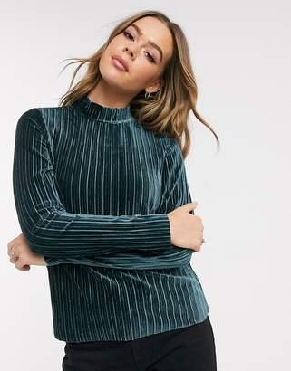 JDY Nina velvet long sleeve high neck top-Blue