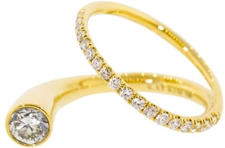 KatKim 18kt yellow gold diamond Grande Crescendo Flare pave ring