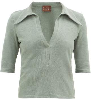 Albus Lumen - Point-collar Terry Cotton-blend Polo Shirt - Womens - Green