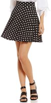 Soprano Polka Dot Fit-And-Flare Knit Skirt