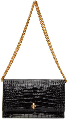 Alexander McQueen Black Croc Medium Skull Bag