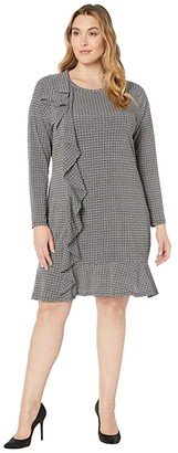 MICHAEL Michael Kors Size Check Ruffle Long Sleeve Dress (White) Women's Dress