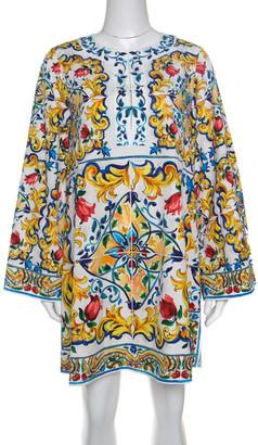 Dolce & Gabbana Majolica Printed Cotton Bell Sleeve Kaftan Dress S