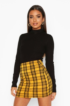boohoo Checked Jersey Mini Skirt
